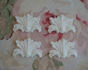 Shabby and Chic Acanthus Leaf & Bead Medallions 4pcs.  Furniture Appliques  Architectural Onlay Pediment Molding Trim