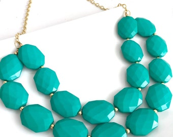 Turquoise Statement Necklace Double Stranded Turquoise and Gold Bridesmaid Necklace Summer Bold