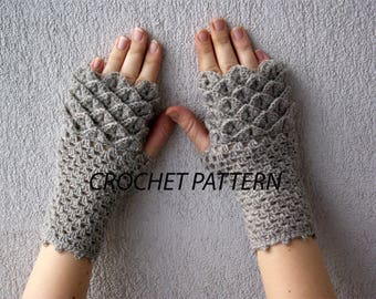CROCHET PATTERN / Dragon gloves or Crocodile stitch fingerless gloves by Mareshop