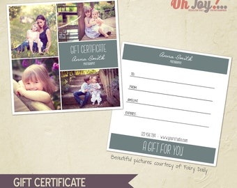 INSTANT DOWNLOAD - Photography Gift Certificate photoshop template 5x5 - GC104