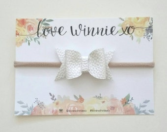 Pearl 'Prissy' Bow Faux Leather Headband