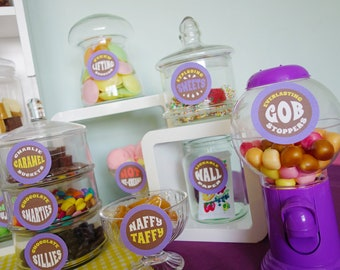 Willy Wonka candy jar labels Willy Wonka birthday party Wonka candy buffet printable DiY Willy Wonka candy labels