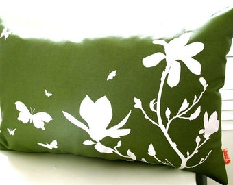 Limited Time Sale Olive Green Magnolia and Butterfies Rectangle Pillow