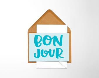 Bonjour, PRINTABLE CARD, French, hello, downloadable card, print it yourself