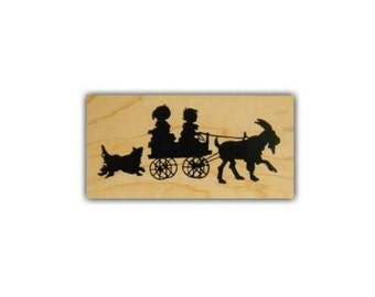 CHILDREN in GOAT CART sm. silhouette Mounted rubber stamp, summer fun, barnyard animal, farm, dog, Victorian style, Sweet Grass Stamps No.1