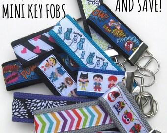 Mini KEY FOB- Buy 6 + Save- Womens Key Chain- Keychain Holder- Womens Key Ring- Key Lanyard- Womens Gift for Her- Best Friend Gift Under 10