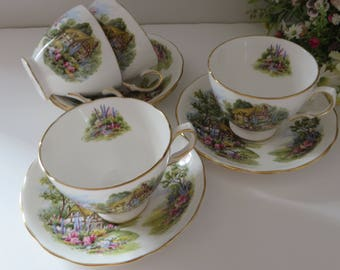 Royal Vale 1960's Teacup and saucer, Country Cottage pattern