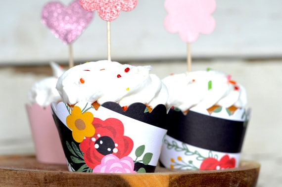 Bold Floral with Black and White Stripe Paper Cupcake Wrappers, Kate Spade inspired party decor