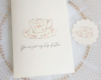 You are just my Cup of Tea Card with Matching Sticker Set of 8