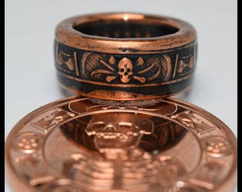Copper Coin Ring - Memento Mori - The Last Laugh - Mens Ring - Mens Gift