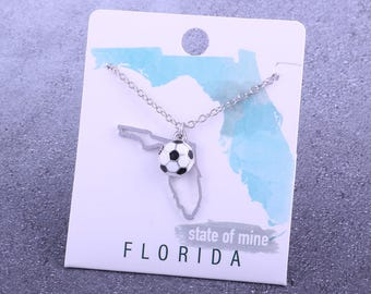 Customizable! State of Mine: Florida Soccer Enamel Necklace - Great Soccer Gift!