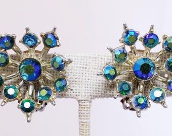 Firework AB Rhinestone Clip On Earrings, Atomic Aurora Borealis Silver Tone Costume Jewelry