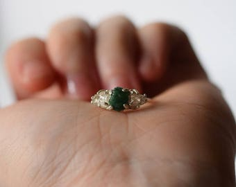 Emerald ring, Emerald, May birthstone, Raw emerald ring, Natural emerald ring, Emerald engagement ring, Size 6 engagement ring, Bohemian