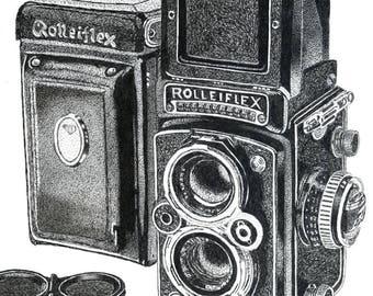 Art Print - Pen & Ink Drawing, A4 - Rollei Twin Lens Reflex Camera