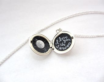 Love You to the Moon Tiny Enamel Painting in Sterling Silver Locket