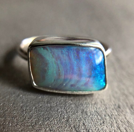 Sterling silver ring with Australian crystal pipe opal SZ 8.5
