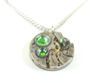 Steampunk Necklace Clockwork Jewelry With Emerald Crystals