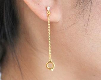 Sterling Silver Dangling Earrings Stud, Chain Dangling Earrings Stud with Sparkling CZ Stones