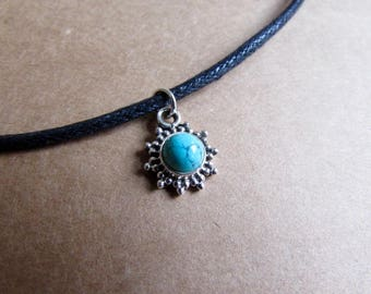 Turquoise Gemstone Pendant Dainty Choker Handmade, Simple Jewellery Gift Bag, Free UK Delivery