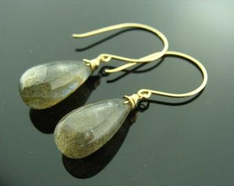 Fire Labradorite Smooth Drop 14K Yellow Gold Earrings