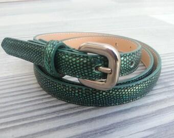 Women's printed lizard skin belt