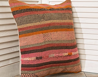 striped pillow, pink pillows, orange pillows, decorative pillow covers, eclectic pillows, wool pillow, bohemian style, cushion covers,