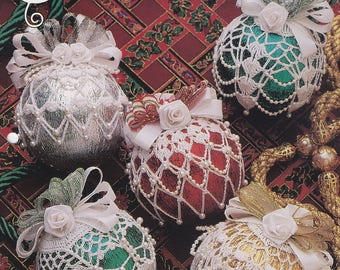 Metallic Ornaments, Annie's Attic Christmas Crochet Pattern Booklet 879603 RARE
