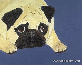 Pug Note Cards - Pouty Fawn Pug - A5