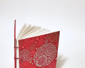 red with metallic circles writing journal - red journal - lay flat journal - customizable journal - customizable notebook - coptic journal