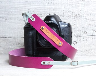 DSLR camera strap.Violet with light blue. Monogram personalization. Canon camera strap. Nikon camera strap. Photographers gift.