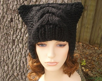Short Dragon Black Ear Flap Hat - Black Knit Hat - Black Hat Black Beanie Black Cat Hat Black Womens Hat  Accessories Winter Hat