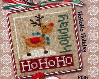Lizzie Kate Flip-It Jingles - HoHoHo Holiday F128 - Christmas Counted Cross Stitch Pattern Chart with button