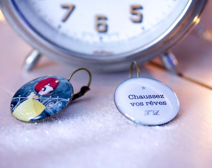 Earrings resin Cinderella/Valentine /-Youpla & Adolie Day (25mm in diameter) the feather to the ear (ANA11 T39) collection