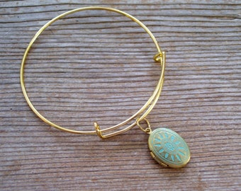 Aqua Locket Bangle, Art Deco Locket Bracelet, Aqua Gold Brass Locket Bracelet, Oval Locket Bangle Bracelet, Small Locket Charm