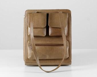 Vintage leather bag, brown leather handbag, 60s leather bag, leather bag with pockets