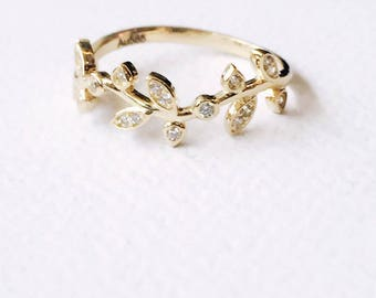 14K solid yellow gold olive leaves cubic zirconia ring, delicate stackable stacking ring personal leaf ring OLF-CZR1001