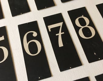 Vintage school cardboard letters numbers  white black signs numbers industrial decoration