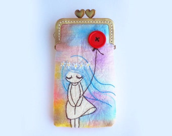 iPhone Case gadget case/Glasses Case - Vintage Embroidery Girl with red balloon (iPhone X, iPhone 8, iPhone 8 Plus, Samsung Galaxy S8 etc.)