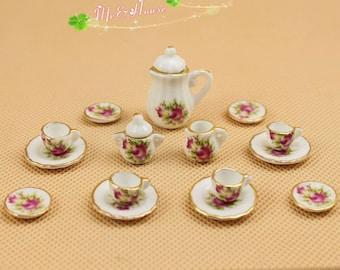 """1/12 Dollhouse Miniatures Tea Coffee Set Pot Cup Doll House Porcelain Set Pink Flowers; Pot H: 1 1/3"""""""