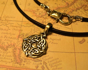 Free Shipping, Leather Necklace, Celtic Knot, Mens Necklace, Mens Jewelry, Mens Gift, Pendant, Distresed Cord