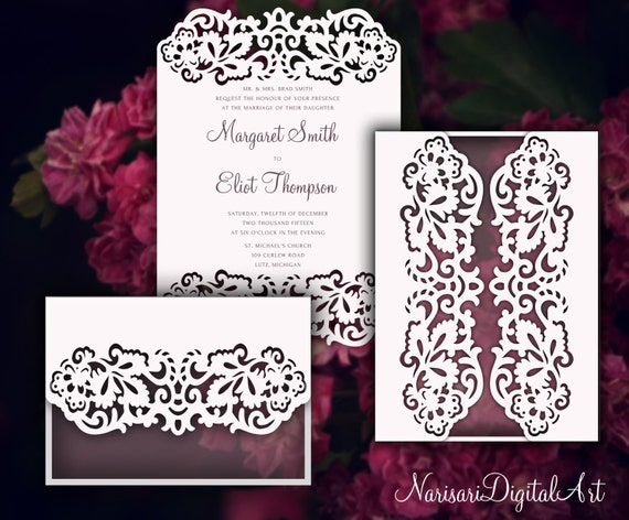 set laser cut wedding invitation card templates 5x7 u0026 39  u0026 39