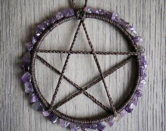 Amethyst Altar Pentacle, Pentagram Charm, Wicca, Wicca Supplies, Pagan, Ritual tools