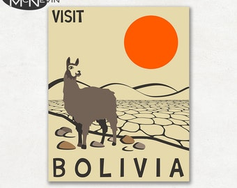 BOLIVIA, SOUTH AMERICAN Travel Poster, Retro Pop Art