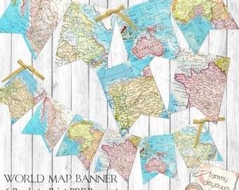 World Map Bunting. Map Garland, Printable Map Banner travel theme, graduation, travel decor, wedding, birthday, baby shower, places you go