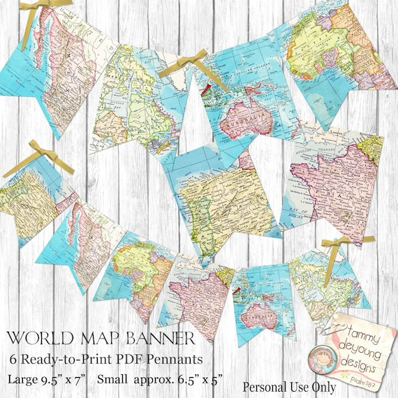 World Map Bunting Map Garland Printable Map Banner travel