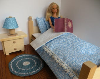 Barbie's Bedtime Reading Set: Bed, Linen, Table, Lamp, Rug, and Free Magazine & Glasses
