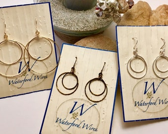 Hammered Double Hoop Earrings, 2 Sizes/3 Colors