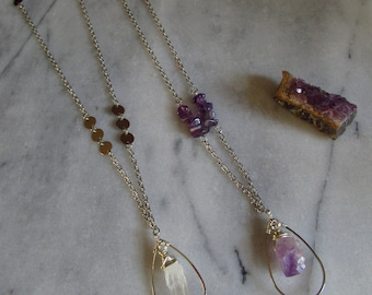 Long quartz necklace, amethyst necklace, gemstone necklace, drop pendant, boho jewelry, long crystal necklace, wire wrapped jewelry