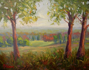 Original oil painting, american fall landscape, oil on canvas, Valley Forge, Pennsylvania, Autumn, Impressionist, by Francesco Sessa