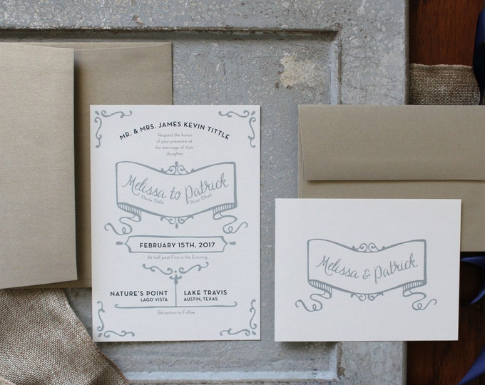 PRINTABLE Wedding Invitation Suite | Rustic Chic in Navy & Gold